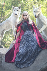 Lovely Woman Posing With Wolves Outdoors
