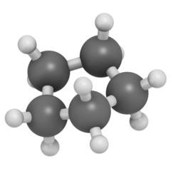 Cyclopentane cycloalkane molecule. Used in refrigerators.