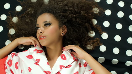 Pin up Fashion Beauty Portrait Of Young Black Beautiful Model