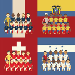 Football team and flag, Group E