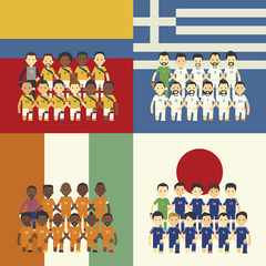 Football team and flag, Group C