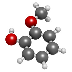 Guaiacol aromatic molecule. Responsible for smoky taste.