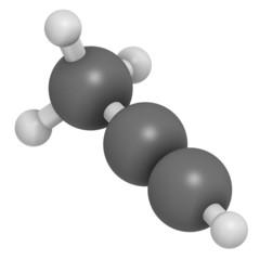 Methylacetylene (propyne) molecule. Used in welding gas.