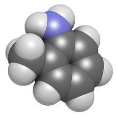 Toluidine (ortho-toluidine, 2-methylaniline) molecule.