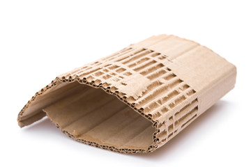 piece of cardboard corrugated on white background