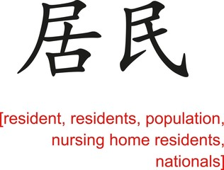 Chinese Sign for resident, residents, population, nationals
