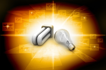 Light bulb and cfl, energy saving concept