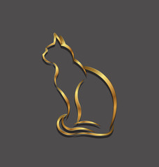 Cat gold 3D line image. Concept of animal pet.