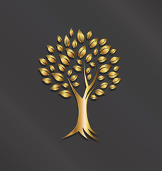 Tree plant gold image.Concept of abundance, wealth,good