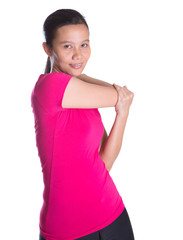 Female Asian in sports attire doing stretching exercise
