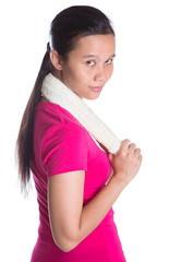 Female Asian in sports attire with a towel over white background