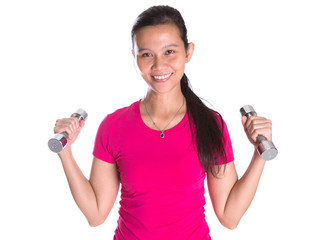 Female Asian in pink sports attire with a dumbbell