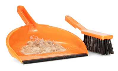 Whisk broom and dustpan with dirt