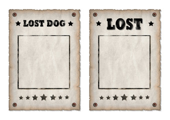 Lost, Lost dog grungy faded posters