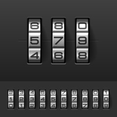 Combination, code lock numbers