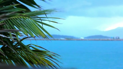 Koh Samui beach in bad tropical weather. Video