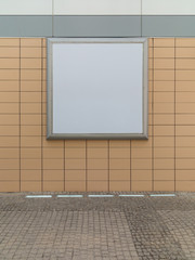 Empty blank square white advertising billboard