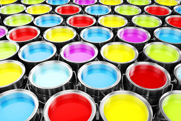 3d render of colorful paint buckets