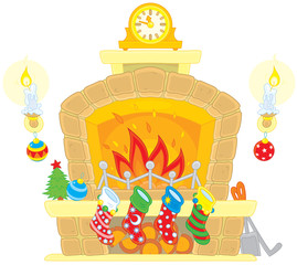 Christmas Fireplace with socks for gifts