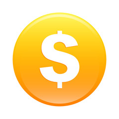 Bouton internet argent finance icon orange sign