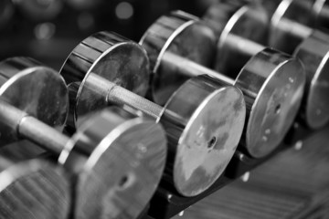 Dumbbells on weight rack