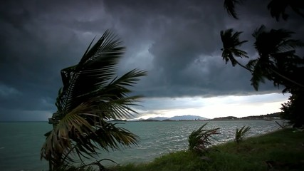 Rainy season on tropical region. Ocean shore in waiting of