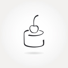 Minimalistic cake icon with cherry