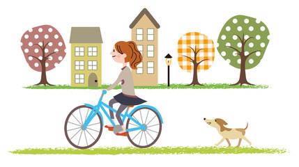 犬とサイクリング