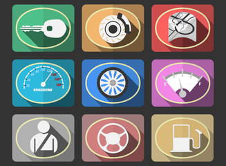 Colorful automotive flat icons set