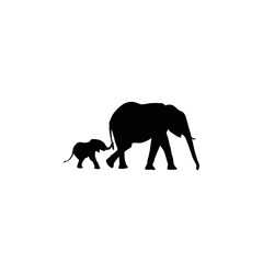 elephants mother and son silhouette