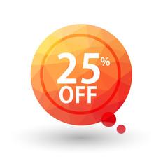 Orange triangular price vector bookmark 25 percent sale off.
