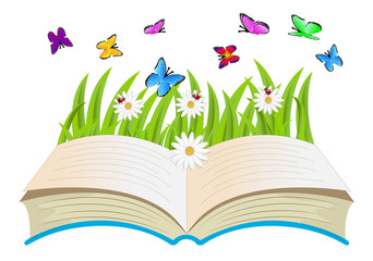 open book, flowers and butterflies