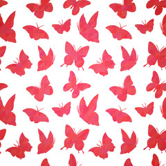 Geometric seamless pattern with butterfly silhouettes