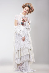 Gorgeous Outre Female in Lacy White Dress with Flowers