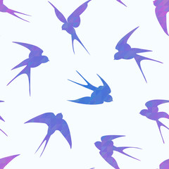 Geometric seamless pattern with swallows flying