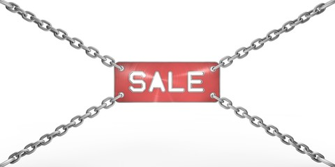 "metal plate with a cut ""sale"" on the chains"