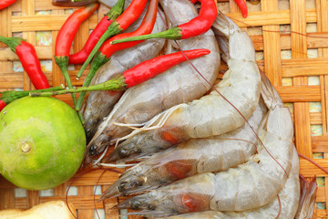 Shrimp - for cooking, place the basket.