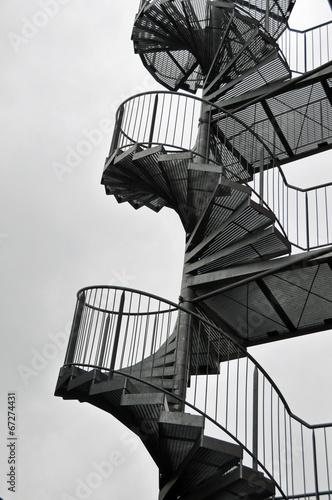 Leinwanddruck Bild Wendeltreppe in Stahl