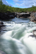 Long exposure of river in the canyon in Abisko