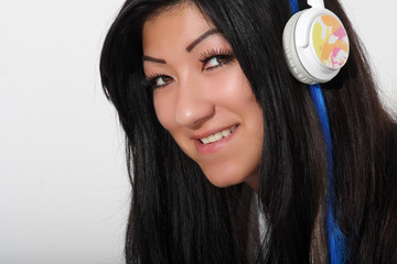 happy girl and headphones