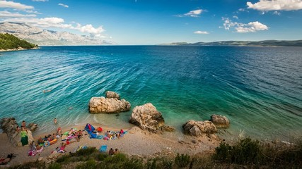 Pebble Beach near Omis, Time-lapse, Dalmatia, Croatia
