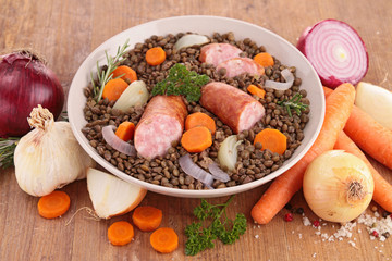 lentils,meat and vegetables