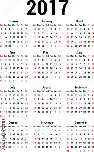 "Calendário 2017 para imprimir ""Anual regular"" (regular-pt-1700-l ..."