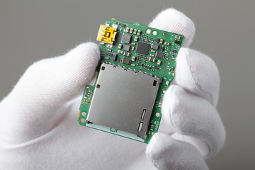 Electronic board with components, new technology or repair
