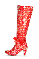 High heels boots packed in Christmas Paper