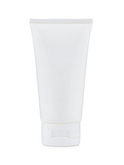 Blank white plastic cosmetics, paste or gel tube