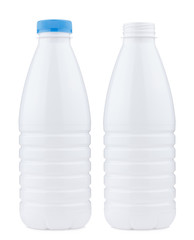 Plastic 1 liter bottle closed and open, isolated
