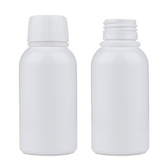 Blank white plastic pill or hygiene liquid bottle isolated