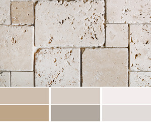travertine tiles  color palette swatches with complimentary