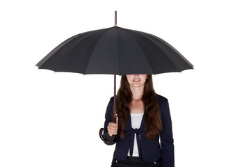 business woman under a black umbrella